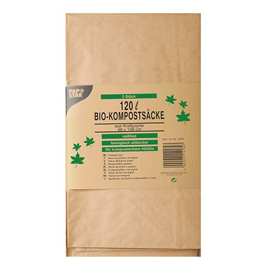 Bio-Kompostsäcke aus Papier, 120 l, braun, H 110 x B 68 x T 21,5 cm - Bild 1